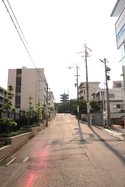 日泰寺境内東の坂道から望む五重塔